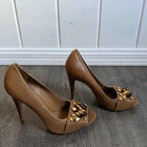 Tory Burch tan heels with gemstones